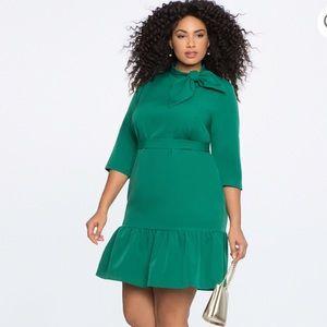 Eloquii Size 18 Emerald Green Dress with Ruffle